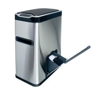 Ведро мусорное с ёршиком, сенсорное, внутр ведро, туалетная бумага, JAH-534, 7л (серебряный)